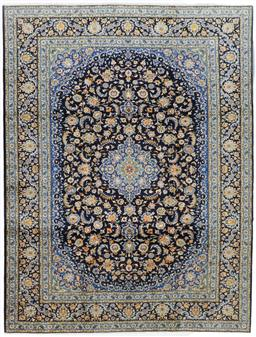 Sale 9181C - Lot 34 - A fine floral navy and sky blue tone Shah Abbas Kashan lambswool rug 420 x 310cm
