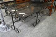 Sale 8115 - Lot 1402 - Metal Based Coffee Table w Smokey Glass Top