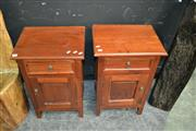 Sale 8124 - Lot 1002 - Pair of Timber Bedside Cabinet w Single Door & Drawer
