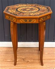 Sale 8287A - Lot 16 - A small musical octagonal marquetry side table (musical movement not currently working) 165cm high x 44cm wide x 44cm deep