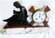 Sale 8362A - Lot 54 - An antique French marble and bronzed metal Art Deco figural mantle clock, with key and pendulum, size 36 x 22 x 12 cm