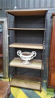 Sale 8402 - Lot 1076 - French Cast Iron and Oak Shelved Bakers Stand with Brass Plaque (H 234cm)
