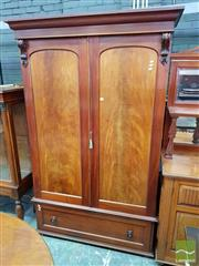 Sale 8485 - Lot 1051 - Late 19th Century Cedar Wardrobe, with two arched panel doors, enclosing hanging space, with a drawer below (Key In Office)