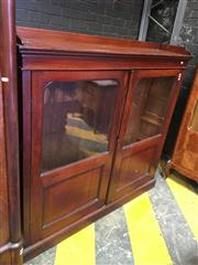 Sale 8666 - Lot 1097 - Good 19th Century Cedar Dwarf Bookcase, with gallery top & two doors with glass upper & blind panels below.  (slight losses)