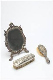 Sale 8670 - Lot 302 - Table Mirror (H:26cm) With A HMSS Brush And A Plated Example