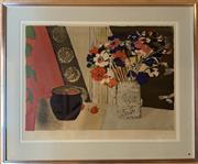 Sale 8510A - Lot 67 - Reni Louis, Lithograph, Still life with flowers and strawberries, E.A. 52 x 68cm