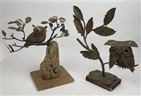 Sale 8725A - Lot 36 - Two mid century modern torch cut brutalist metal sculptures of owls in branches, one on a cork base, the other timber. Taller 33cm