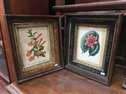 Sale 8882 - Lot 1087 - Pair of Botanical Colour Lithographs, in antique carved & ebonise frames with etched gilt slip