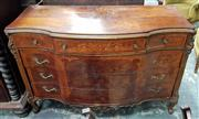 Sale 8956 - Lot 1076 - Possibly Italian 18th Century Style Walnut Commode, with serpentine front, three short and three long drawers with with floral marqu...