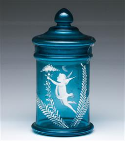 Sale 9098 - Lot 326 - Mary Gregory style blue glass cookie jar (h:21.5cm)