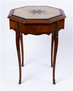 Sale 9135H - Lot 135 - A French Neoclassical marble top side/lamp table. 76cm Height, 59cm Width, 59cm Depth