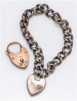 Sale 9180E - Lot 79 - A sterling silver babys bracelet heart form locket, together with a 9ct gold heart locket, combined weight 7g