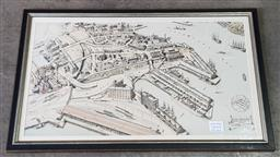 Sale 9142 - Lot 1074 - Framed Lithograph of an Aerial View of Jones Bay, Pyrmont, circa. 1919 (h:58 x w:93cm)