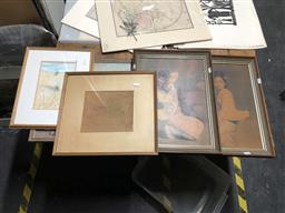 Sale 9172 - Lot 2063 - A group of six assorted decorative prints and original works including Margot Peacock