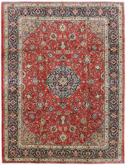 Sale 9181C - Lot 35 - Coral and sky blue tones finely knotted Persian Sarouk wool rug 375 x 280cm