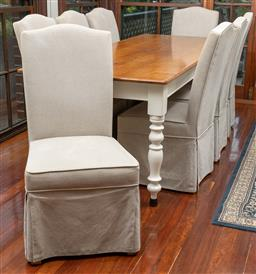 Sale 9260M - Lot 61 - A set of 8 linen covered dining chairs H 75cm W 52cm, covers removable for laundering