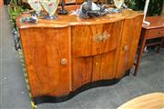 Sale 8156 - Lot 1044 - Art Deco Veneered Sideboard with Central Sliding Section