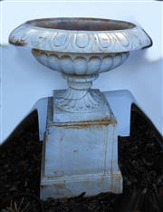 Sale 8256A - Lot 32 - A large vintage cast iron garden urn on stand -- Overall Ht: 115 cm. Urn size: 57 x 80 cm