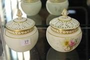 Sale 8296 - Lot 19 - Royal China Works Pair of Pierced Lidded Jars