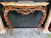Sale 8465 - Lot 1004 - Marble Top Console on Carved Cabriole Legs - crack to top