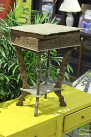 Sale 8499 - Lot 1031 - Heavily Carved Lift Top Side Table (loose top)