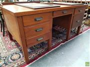 Sale 8580 - Lot 1036 - Maple Clerks Desk with 6 Drawers (73.5 x 151.5 x 91.5cm)