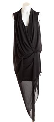 Sale 8640F - Lot 1 - A black Carla Zampatti hankerchief hemmed blouse (10) with matching skirt (8)
