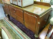 Sale 8657 - Lot 1072 - Raised Timber Sideboard with Glass Top, Two Doors & Drawers