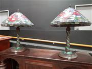 Sale 8688 - Lot 1008 - Pair of Leadlight Shade Table Lamp