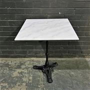 Sale 8975K - Lot 64 - Cafe Table with White Marble Top above Cast Iron Base - 60x60cm