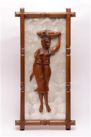 Sale 9027D - Lot 739 - Southeast Asian wood and mother of pearl plaque depicting a carved wood figure of a woman (H54cm W27cm)