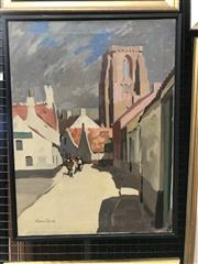 Sale 9072 - Lot 2004 - A Van Reck (C20th)  Rural Country Town Scene oil on canvas 63 x 48cm, signed