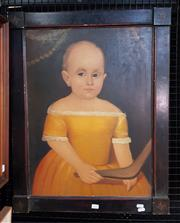 Sale 9077 - Lot 2030 - Artist Unknown Appropriation (Portrait of Girl and with Boomerang) oil on canvas, 73 x 57cm (frame) unsigned -