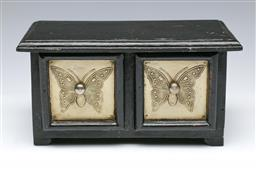 Sale 9098 - Lot 450 - Timber two drawer jewellery box with butterfly motif (h:14 w:26 d:14cm)