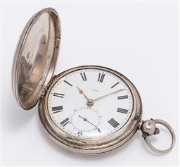 Sale 9180E - Lot 124 - An English hallmarked sterling silver pocket watch, London by RO JE, total weight 100g