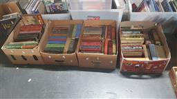 Sale 9152 - Lot 2363 - 4 Boxes of Childrens & Other Books incl. The Poetical Works of Henry W. Longfellow; Bevan, T. The Seceret Men; Stand Easy, etc