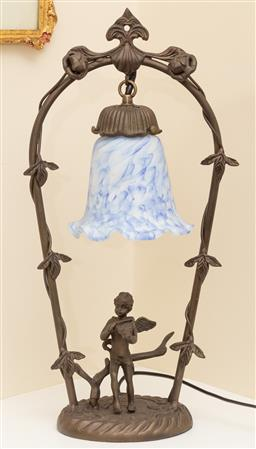 Sale 9190W - Lot 30 - An art nouveau style lamp with art glass shade, Height 47cm