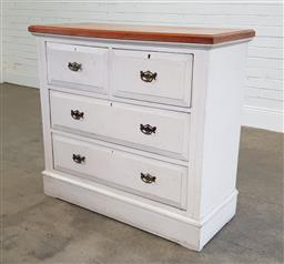 Sale 9188 - Lot 1395 - Painted timber chest of 4 drawers (h98 x w106 x d45cm)