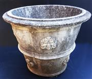 Sale 8256A - Lot 33 - A vintage well weathered composition stone garden pot in the renaissance style. Some chips etc. Overall size 39 x 48 cm