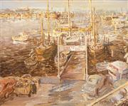 Sale 8583A - Lot 5089 - Thomas (Tam) Ambrose (1938 - ) - Fremantle Wharf, 1978 75 x 91cm