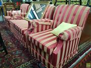 Sale 8589 - Lot 1071 - Striped Upholstered Three Piece Suite incl. Pair of Armchairs & Two Seater Sofa