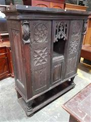 Sale 8956 - Lot 1065A - 19th Century Gothic Oak Cupboard, incorporating earlier elements, the centre alcove with gothic tracery, flanked by doors with linen...