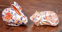 Sale 9120H - Lot 37 - A Chinese Imari palette hand painted rabbit and cat figure, larger 13cm