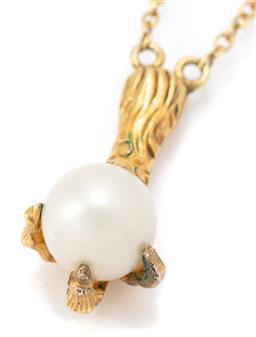 Sale 9164J - Lot 355 - A VINTAGE GOLD EAGLE CLAW PEARL PENDANT ON CHAIN; 20ct claw set with a 7.6mm oval cultured pearl, length 20mm on a later 17ct gold c...