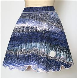 Sale 9095F - Lot 45 - A Kenzo blue and white patterned mini skirt, size L.