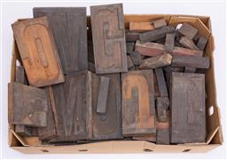 Sale 9185E - Lot 90 - A collection of timber number and letter blocks
