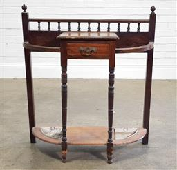 Sale 9188 - Lot 1397 - Early timber hall table with metal umbrella drip trays (h94 x w83 x d30cm)
