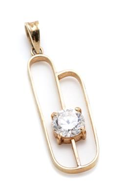 Sale 9253J - Lot 518 - A 14CT GOLD ZIRCONIA PENDANT; gold frame set with a round cut zirconia, size 29 x 9mm, wt.1.34g.
