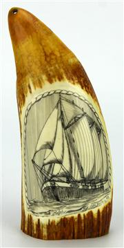Sale 8130 - Lot 100 - Whale Tooth Scrimshaw Rebel by Bouis