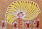 Sale 8226A - Lot 547 - Linda Syddick Napaltjarri (1937 - ) - The WitchDoctor and the Windmill 95 x 139cm (framed & ready to hang)
